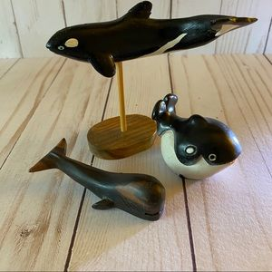Lot of Hand Carved Wooden Whale Figurines